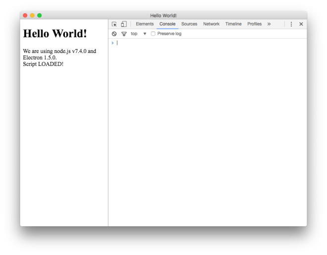 Electron with loaded script and devtools.